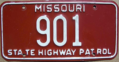 Missouri police licence plate image
