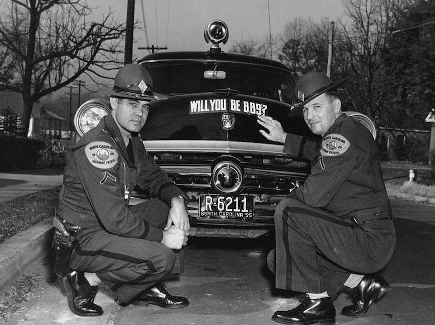 North Carolina police officers and car