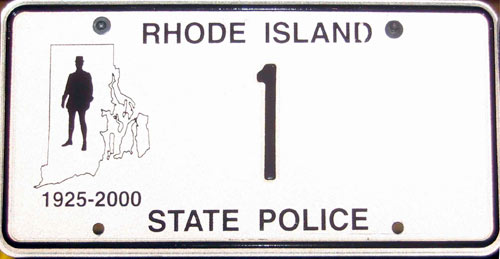 Rhode Island  police license plate